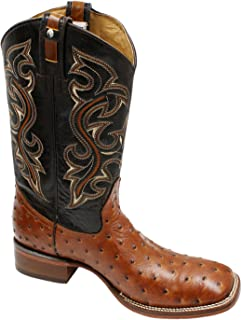 Men Genuine Cowhide Leather Square Toe Ostrich Print Western Cowboy Boots