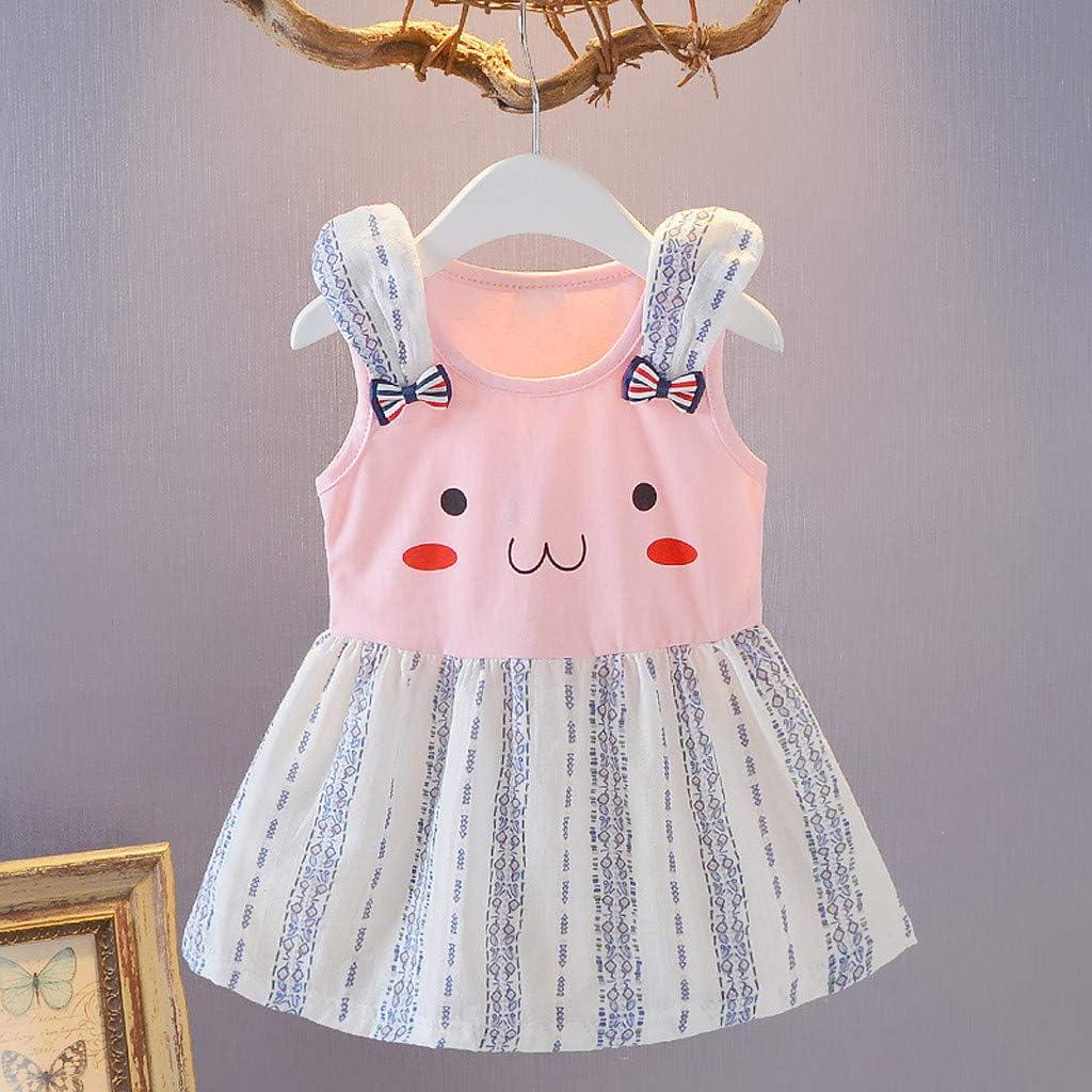 Vestido de Princesa para ni/ña con Volantes dise/ño de Rayas y arco/íris Heetey