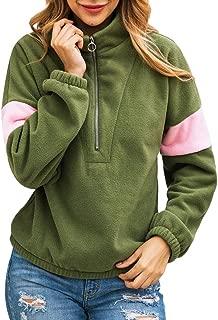 LODDD Women Flannel Zipper Patchwork Long Sleeve Sweatshirt Pullover Shirt Top Blouse