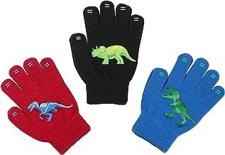 3 Pack - Magic Stretch Winter Kids Gloves for Boys, Kid & Children, Toddler - Dino, Camo, Trucks