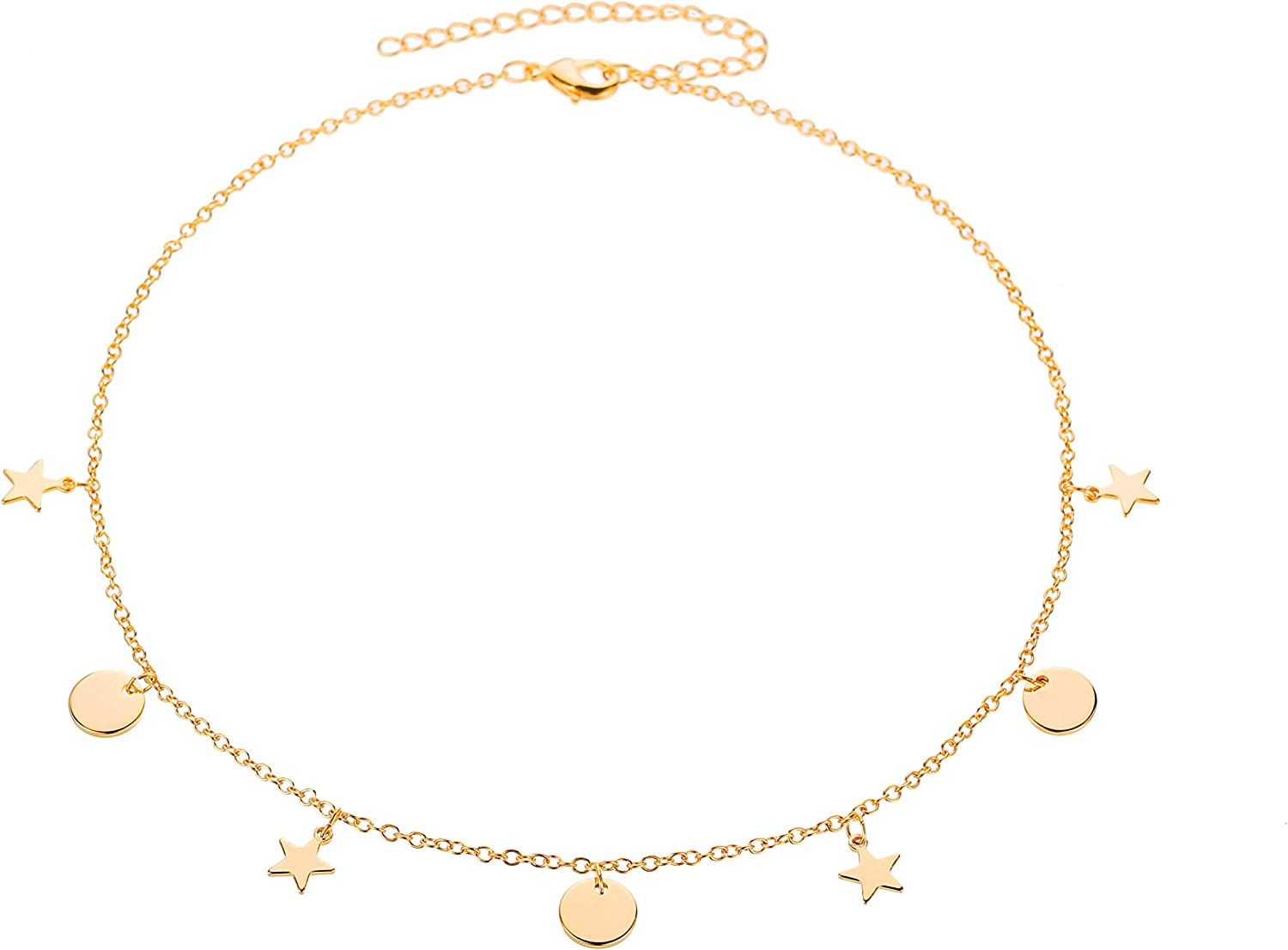 DIY Gold Ghoker Neklace with Butterfly Limited time trial price excellence Moon Thin Charm Disc Star