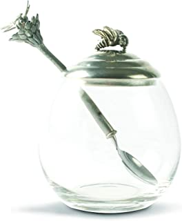 Vagabond House Pewter Bee Glass Honey Pot/Jar with Spoon; 5