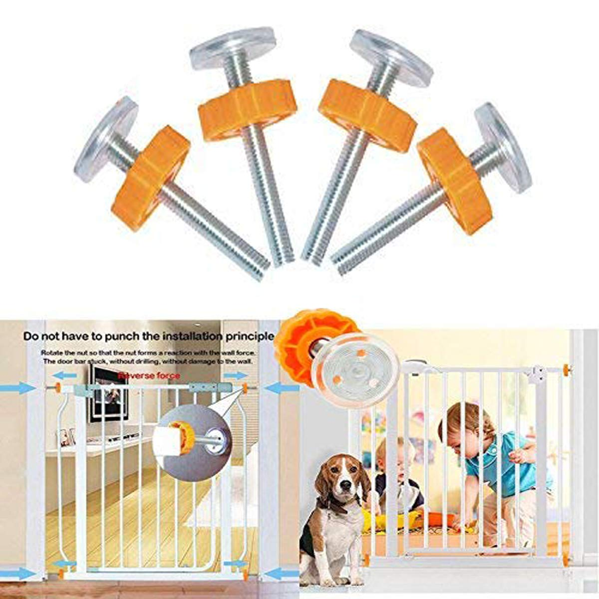 Pressure Mounted Baby Gates Threaded Spindle Rods,4Pcs Spindle Screw Mounted Bolts Kit for Stair Gates Dog Gate