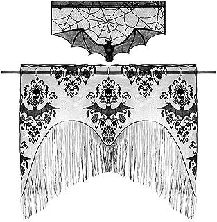 Ledoo Manteles Halloween Chimenea Tela Decoración de Mesa Halloween Cubierta de la Chimenea con Dibujo de Telaraña para H...