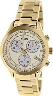 Timex Champagne Dial Chronograph Gold Tone Metal Ladies Watch T2P159
