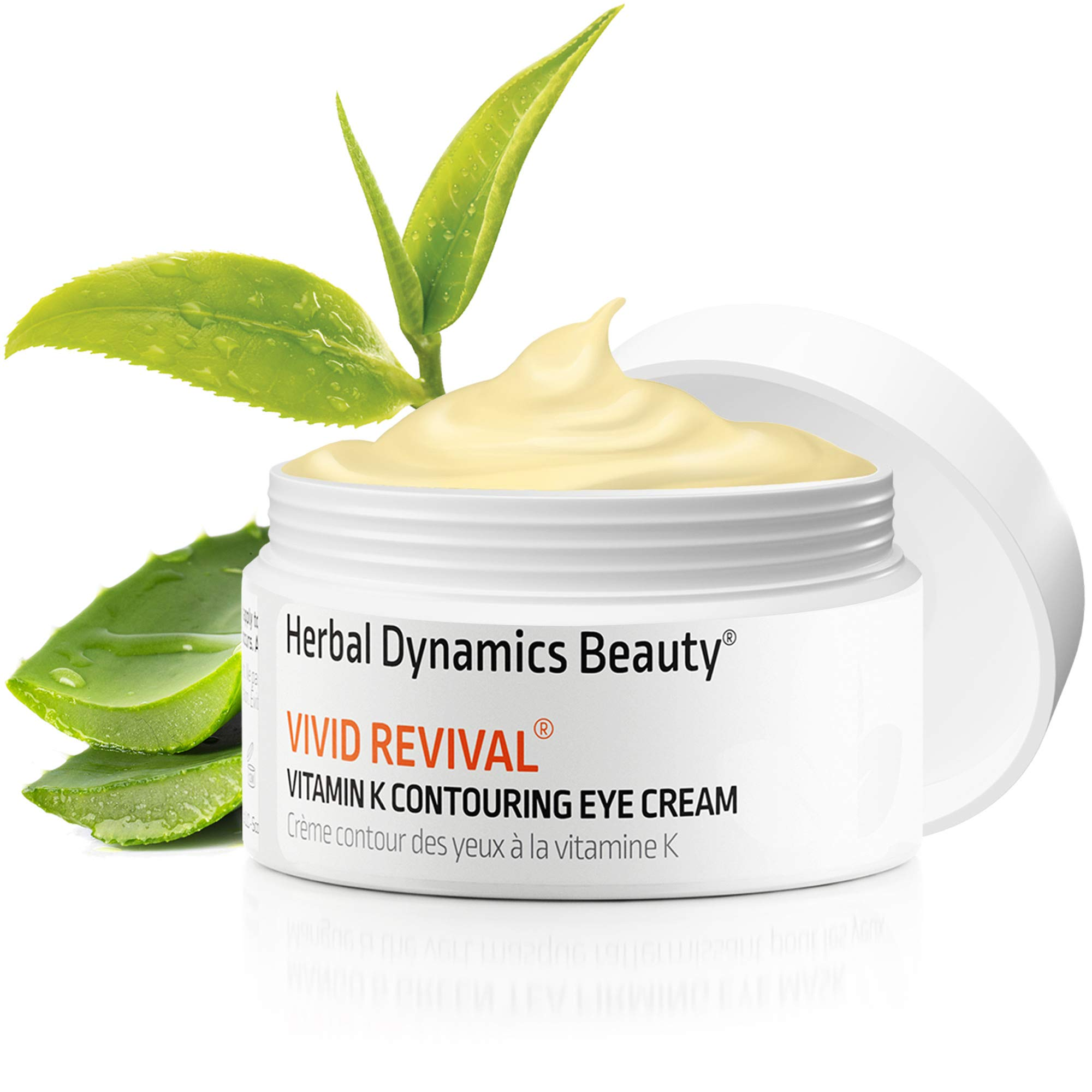 HD Beauty Vivid Revival Vitamin K Contouring Under Eye Cream for Undereye Circles, Puffiness, and Fine Lines with Hyaluronic Acid and Organic Aloe Vera, 0.5oz