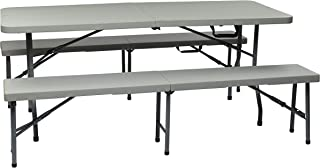 Office Star Resin 3-Piece Folding Bench and Table Set, 2 Benches and 6 x 2.5-Feet Table (Renewed)