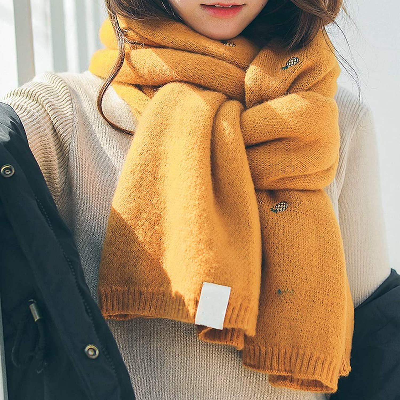 JUN Knitted Scarf Women's Winter Thick Warm Warm Warm Wild Cute Fresh Shawl (color   B)