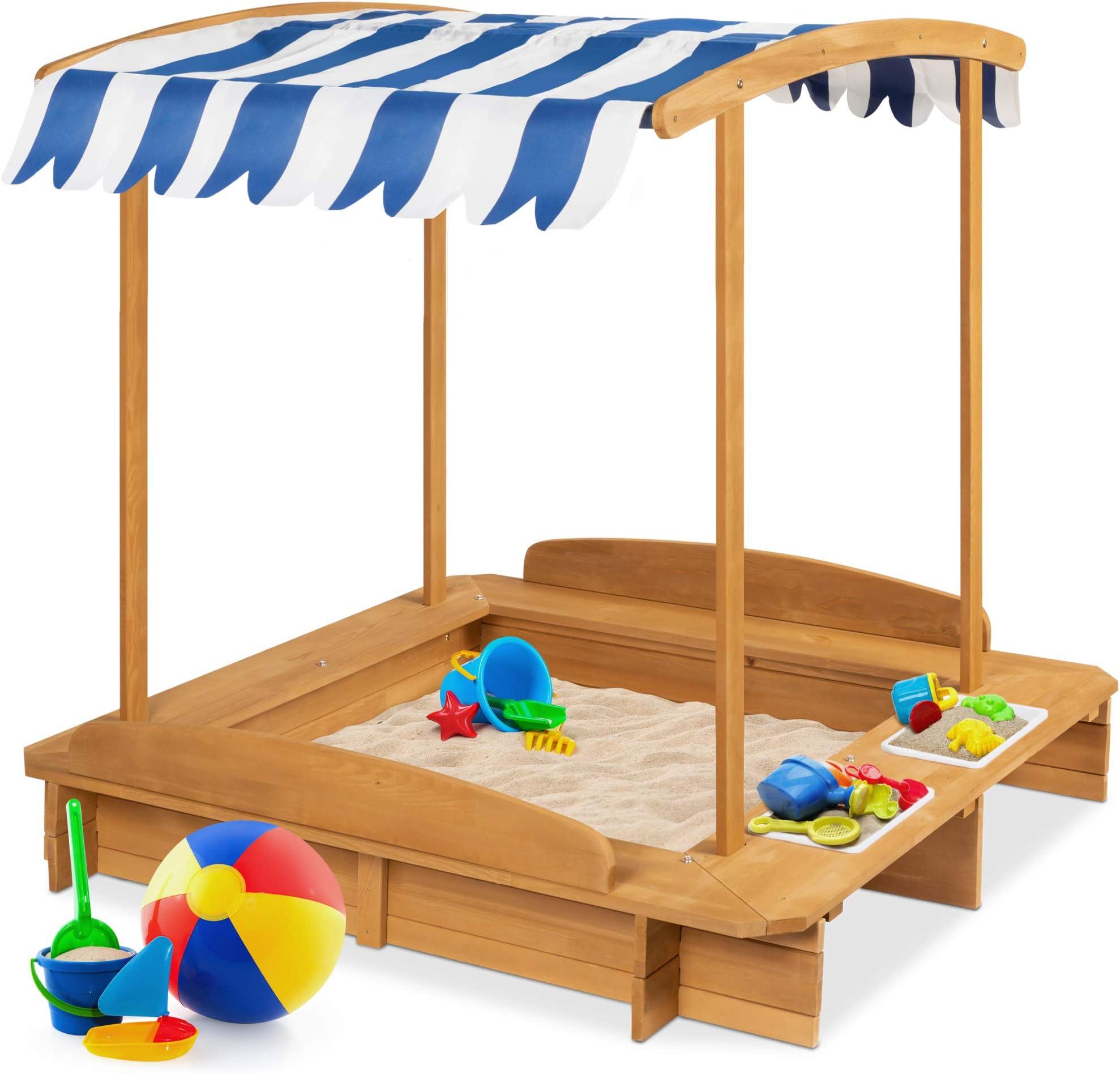 Wooden Sandbox Kids Outdoor Playset With Canopy Children Outdoor Beach Backyard