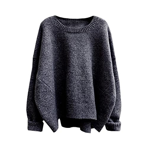 5bc9dbd3eb futurino Women s Crew Neck Solid Long Drop Sleeves Loose Knit Pullover  Sweaters