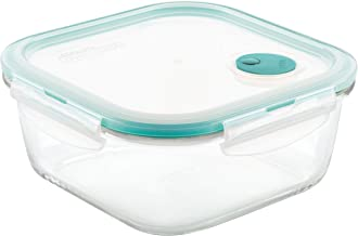 LOCK & LOCK Purely Better Glass Food Storage Container with Steam Vent Lid, Square-47 oz, Clear