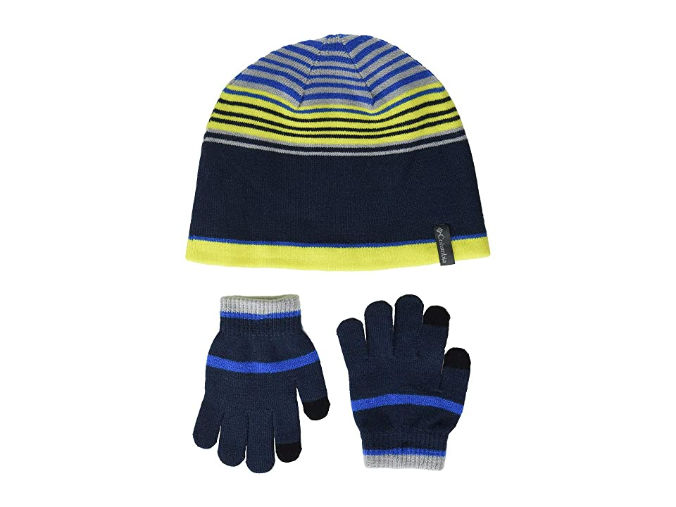 Columbia Kids Hat Glove Set (Youth) (Collegiate Navy) Beanies