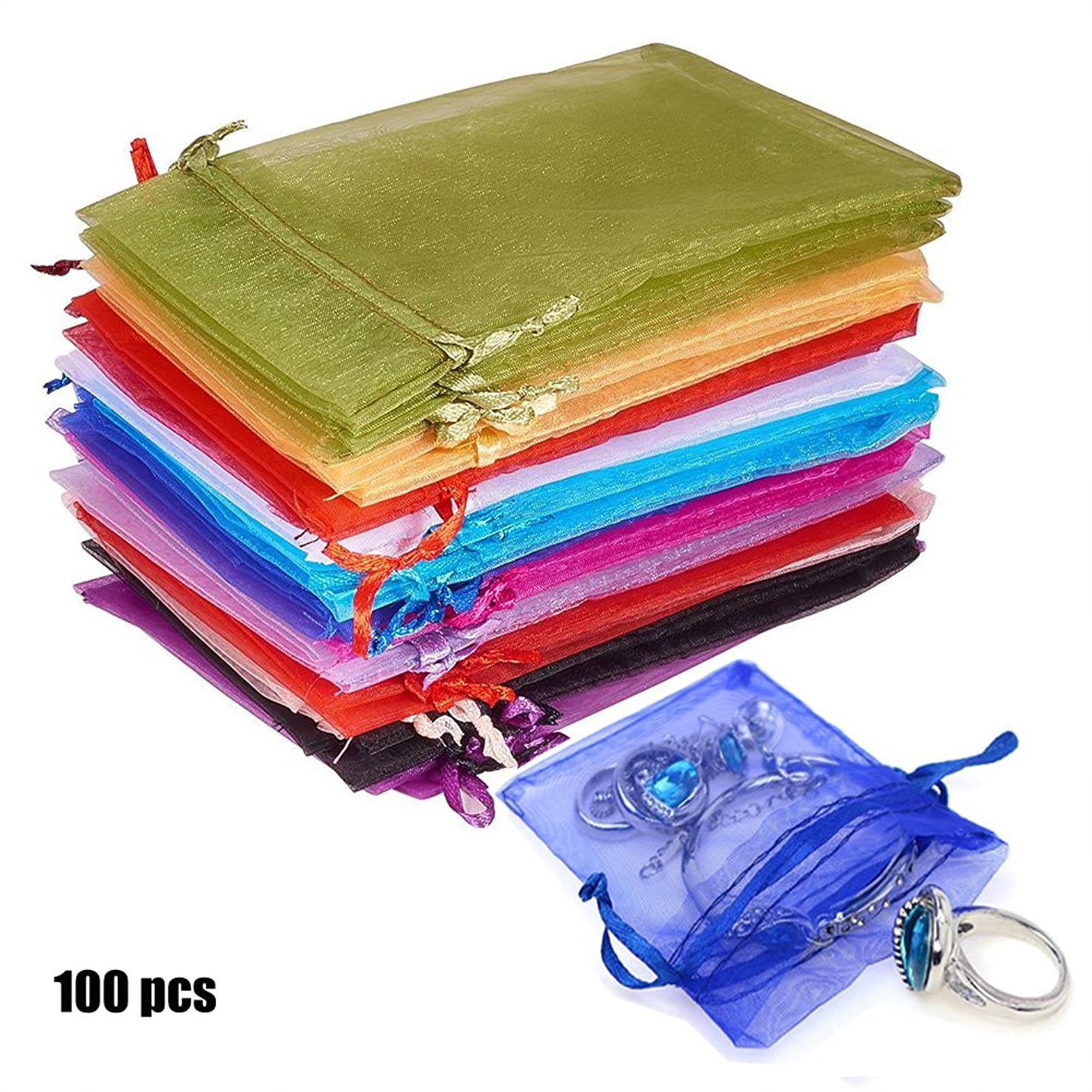 Organza Gift Bags with Drawstring 5'' X 7'' Wedding Party Favor Gift Bags Jewelry Watch Storage Pouches 100pcs Mixed Color