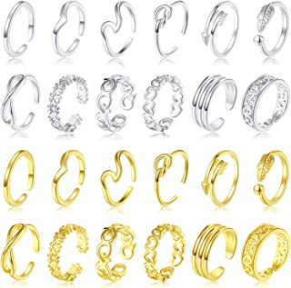 24 Pieces Adjustable Toe Rings Open Toe Rings Set for Women Various Flower Knot Simple Arrow Finger Joint Tail Ring Band S...