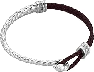 Full Silver Color Bracelet with Brown Strap and White Stones - JCFB00190100