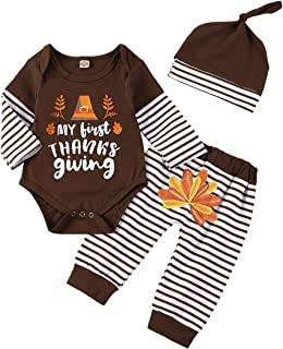 My First Thanksgiving Day Outfits Baby Boy Turkey Print Stripe Long Sleeve Romper + Pant + Hat Clothes Set