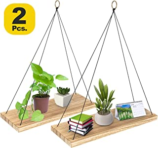Aibicom Set of 2 Wall Hanging Shelves- Wood Hanging Rope Shelf-Floating Shelves for Living Room, Bedroom, Kitchen and Entryway-Triangle Farmhouse Wood Shelves-Hanging Plant Shelf