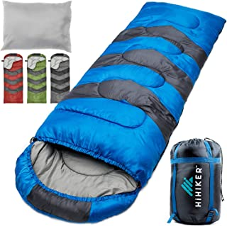 HiHiker Camping Sleeping Bag + Travel Pillow w/Compact Compression Sack – 4 Season Sleeping Bag for Adults & Kids – Lightweight Warm and Washable, for Hiking Traveling.