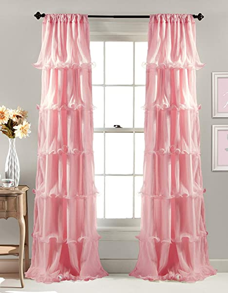 Linens And More 2 Panel Window Sheer Voile Vertical Ruffled Waterfall Curtains84 Inches Long X 50 Inches Wide Pink Ruffled