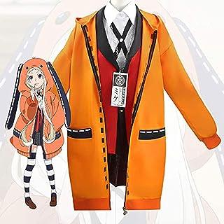 Deciduous Kakegurui jabami yumeko Costumi yomoduki Runa Arancia Coniglio Cappotto Lungo Cosplay Signora Ragazza Carino Felpa con Cappuccio Scuola Uniforme Halloween Carnival Party Outfit