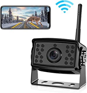 FOOKOO Wireless Phone Backup Camera Reversing for Trucks RV Trailers Campers with Wi-Fi App IP69 Waterproof Parking Guide Lines 170 Degree
