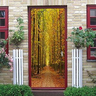 Pegatinas de puerta 3D Camino forestal Adhesivo Vinilos Puerta Pegatina Pared Murales para Cocina Sala de Baño PVC Decorat...