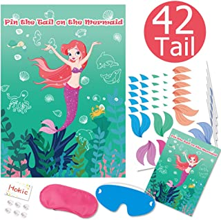 Pin The Tail On The Mermaid Game for Kids/Girls Birthday Under The Sea Party Decorations Mermaid Theme Party Supplies with...