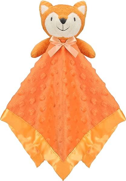 Pro Goleem Fox Baby Lovey Stuffed Plush Lovie Security Blanket Minky Dot Fabric Blankie Best Gift For Newborn Infant 15 Orange