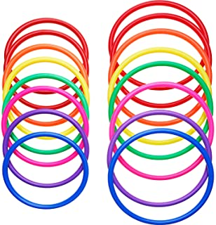 16 Pieces Plastic Multicolor Toss Rings for Speed and Agility Practice Games, Carnival, Garden, Backyard, Outdoor Games, Toss Ring Game (16 Pieces Size A)