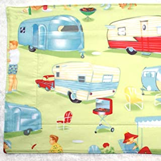 """Dish Drying Mat - Pet Placemat - Appliance Mat - 16"""" x 19"""" - Trailers on Green - RV Camping Decor"""