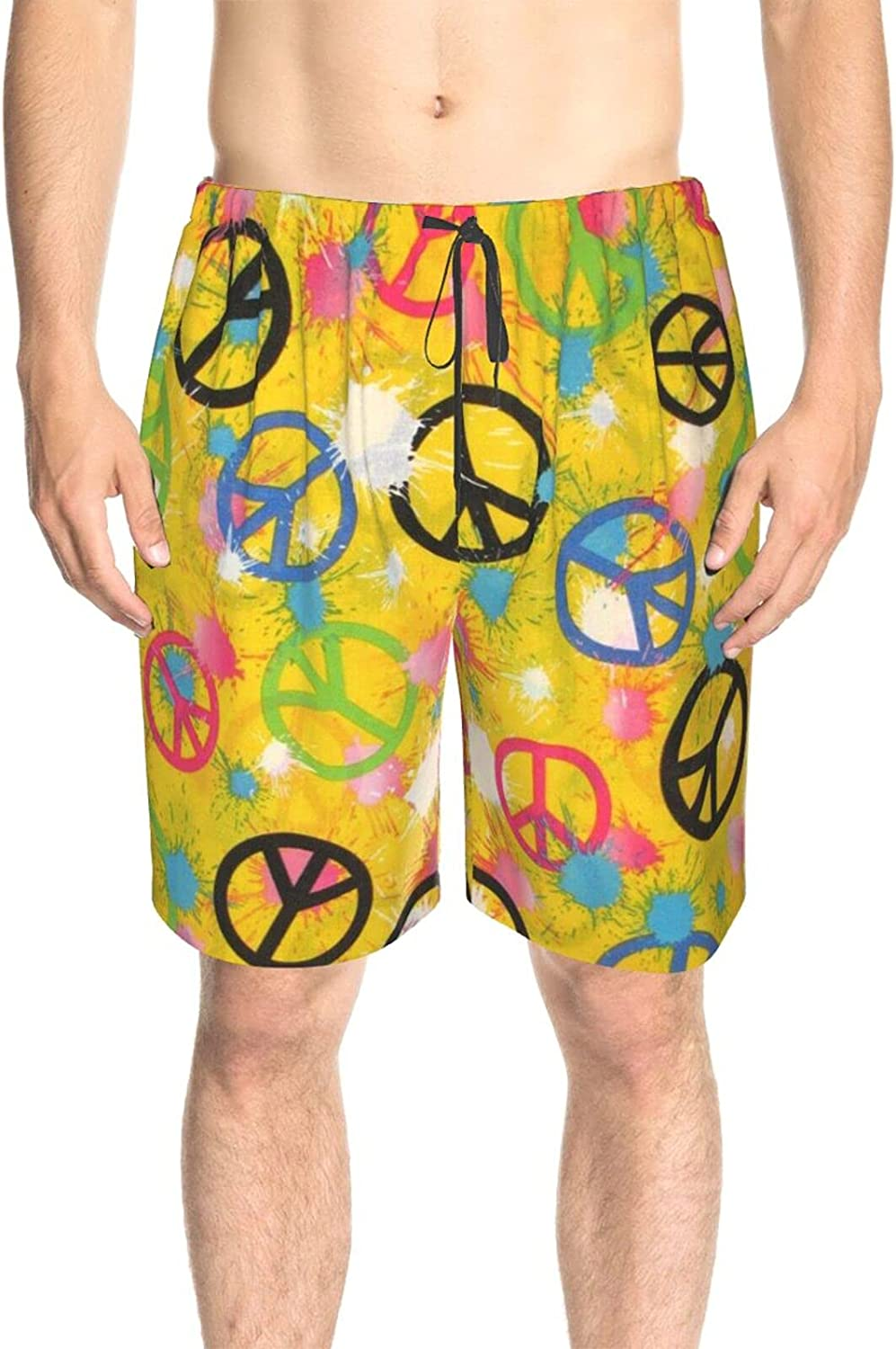 JINJUELS Mens Bathing Suits Splashes Peace Signs Bathing Suit Boardshorts Quick Dry Comfy Swimwear Beach Shorts