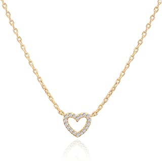 "PAVOI 14K Gold Plated Heart Pendant | Layered Necklaces | Gold Necklaces for Women | 18"" Length with a 2"" Extension"