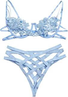 SheIn Women's Floral Cut Out Lingerie Bra and Panty Set Lace Sexy Two Piece