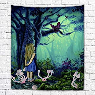 Imagination of Robert Walker Alice and Cheshire Cat Large Art Tapestry