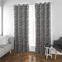 Linhomedecor Zentangle Large Curtain Living Room Greyscale Pattern of Christmas Ornaments Balls Simplistic Snowflakes Blackout Window Curtain Panel, Solid Pattern Grey and White