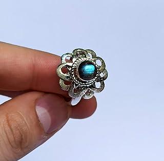 Anello in argento con labradorite Anello fatto a mano in argento sterling 925 con dimensioni da F a Z1 / 2