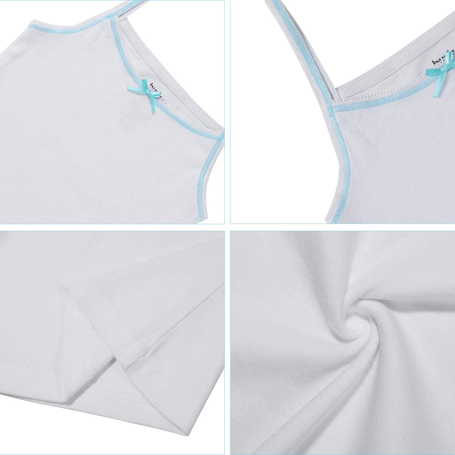 Buyless Fashion Girls Tagless Cami Scoop Neck Undershirts Cotton Tank with Trim and Strap 8 Pack