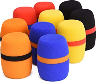 10 Pack Thick Handheld Stage Microphone Windscreen Sponge Cover Suitable for KTV, Dance Ball, Conference Room, News Interviews, Stage Performance (5 Color)