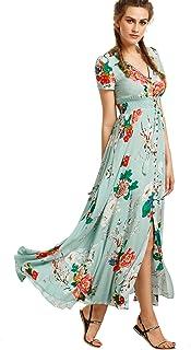 157085d1eb5 Milumia Women Floral Print Button Up Split Flowy Party Maxi Dress