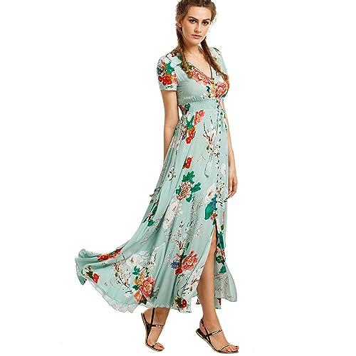 a0c2259bc7d4 Milumia Women s Button Up Split Floral Print Flowy Party Maxi Dress