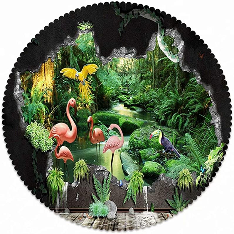 Polyester Round Tablecloth For Family Dinners Or Gatherings Indoor Or Outdoor Parties Everyday Use 24 Seats 4 6 People Animal Flamingos Toucan Parrot