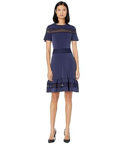 MICHAEL Michael Kors Mesh Mix Short Sleeve Dress (True Navy) Women