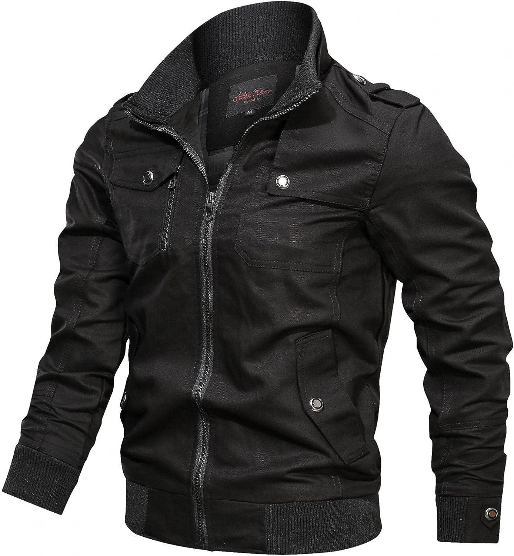 XUETON Mens Cotton Jackets Long Sleeve Full Zip Military Cargo Bomber Multi Pockets Working Jackets Coats Winter Warm
