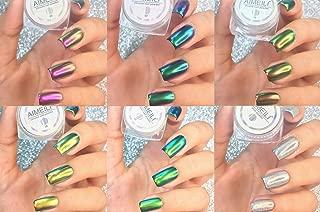 AIMEILI 6 Boxes Nail Art Manicure Powder Set, 1×0.5g Holographic Powder, 5×0.5g Chrome Nail Powder