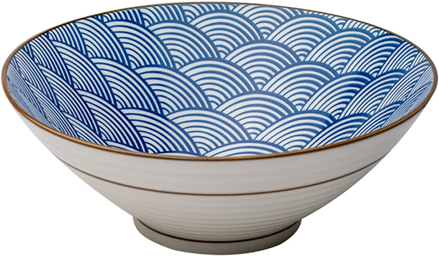 wsetrtg Wave Pattern Ceramic A surprise price service is realized Ramen Bowl Style inch Pe 8 Japanese