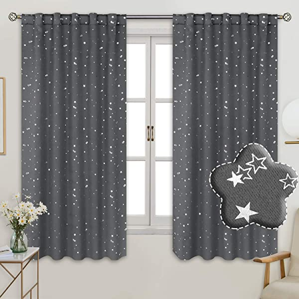 BGment Rod Pocket And Back Tab Blackout Curtains For Kids Bedroom Sparkly Star Printed Thermal Insulated Room Darkening Curtain For Nursery 42 X 63 Inch 2 Panels Grey