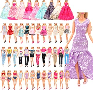 Barwa 21 Accessories Selected Randomly for 11.5 Inch 30 cm Dolls: 5 Fashion Dresses + 5 Clothes + 5 PCS Pants + 3 Wedding ...