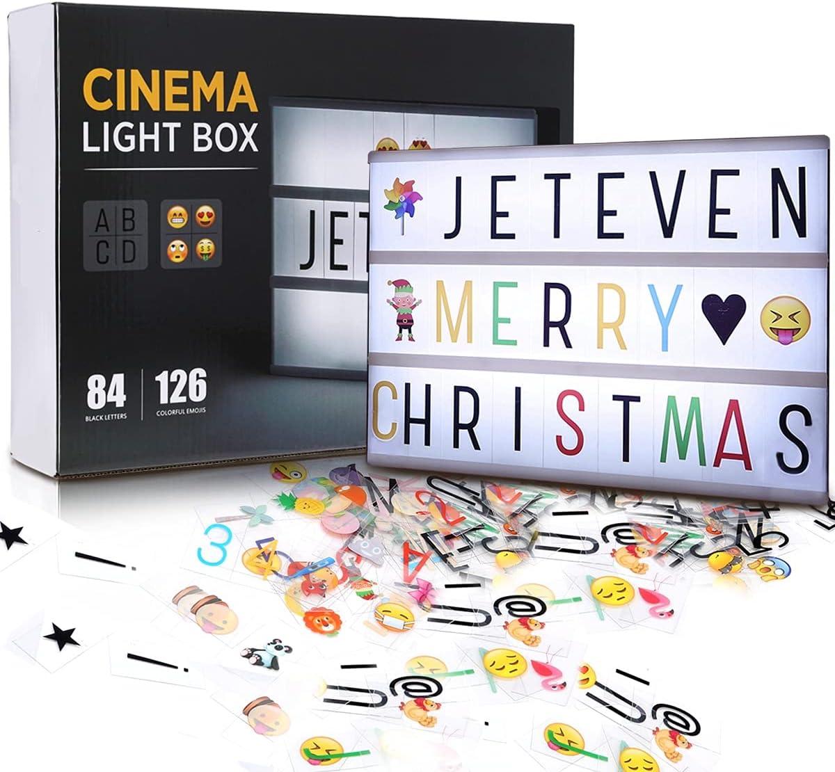 Jeteveven Caja de Luz A4 con 210 Letras, Lightbox LED Letras Emoji Lámparas Números USB, Regalos Niñas Decoradas para la Navidad la Boda de la Fiesta de Cumpleaños [Clase de eficiencia energética A]