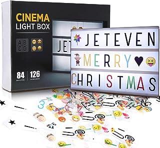 Jeteveven Boîte Lumineuse avec 210 Lettres Coloris Cinéma Boîte Lumineuse A4 Enseigne Lumineuse LED avec 210 Lettres et Sy...