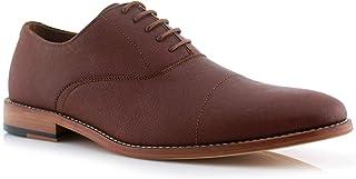 Garrett MFA19623L Men's Classic Memory Foam Vegan Leather Lace-Up Cap Toe Perforated Oxford Formal Dress Shoes